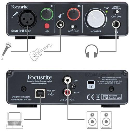 kết nối sound card focusrite solo